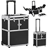go2buy Professional Rolling Makeup Case Cosmetic Train Box Trolley w/ Hand, 19'', Black