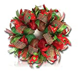 "Custom & Unique (26"" Inches) 1 Single Large Size Decorative Holiday Wreath for Door w/ Ribbons Bows Ornaments Plaid Christmas Winter Bright Poka Dot Holiday Festive Style (Red, White, Green & Silver)"