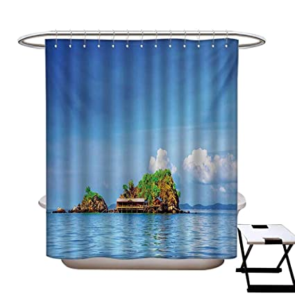 Island Hotel Quality Shower Curtain Liner Photo Of Tropic Islands In The Pacific Sea With Vivid