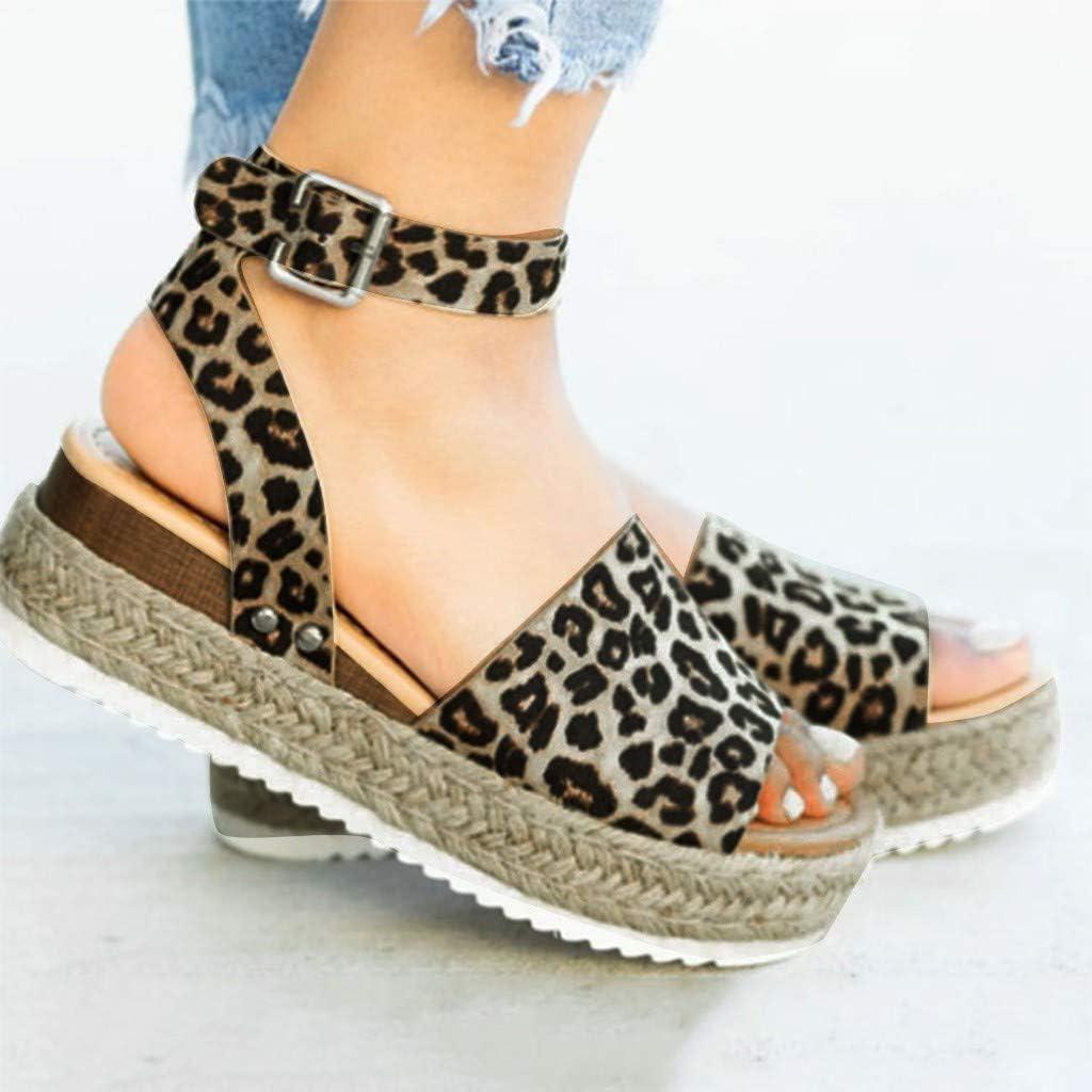 Sandalias Mujer Verano 2019 c/á/ñamo Fondo Grueso Sandalias Punta Abierta Cuero Fondo Plano Zapatos Bohemias Romanas Hebilla Zapatillas Gris 35-43 riou