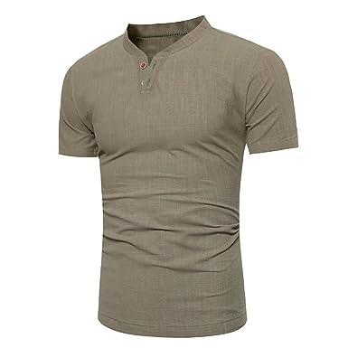 57defc371d3c73 TEELONG Herren Lässige Tops Sommer Kurz - T-Shirt mit Knopfleiste Leinen  Solides Bluse T