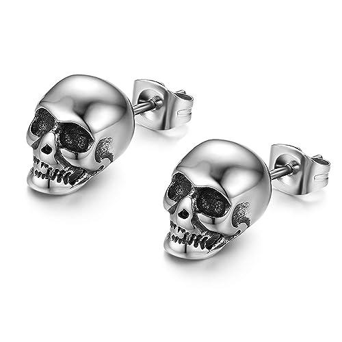 09f5c7e07 JewelryWe Mens Skull Stud Earrings Silver Tone Punk Rock Style Hip Hop  Stainless Steel Earring: Amazon.ca: Jewelry