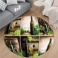Nalahome Modern Flannel Microfiber Non-Slip Machine Washable Round Area Rug-ecor Collection Red and White Wine Barrels Bottles Glasses Grapes and Leaves Accessories area rugs Home Decor-Round 47