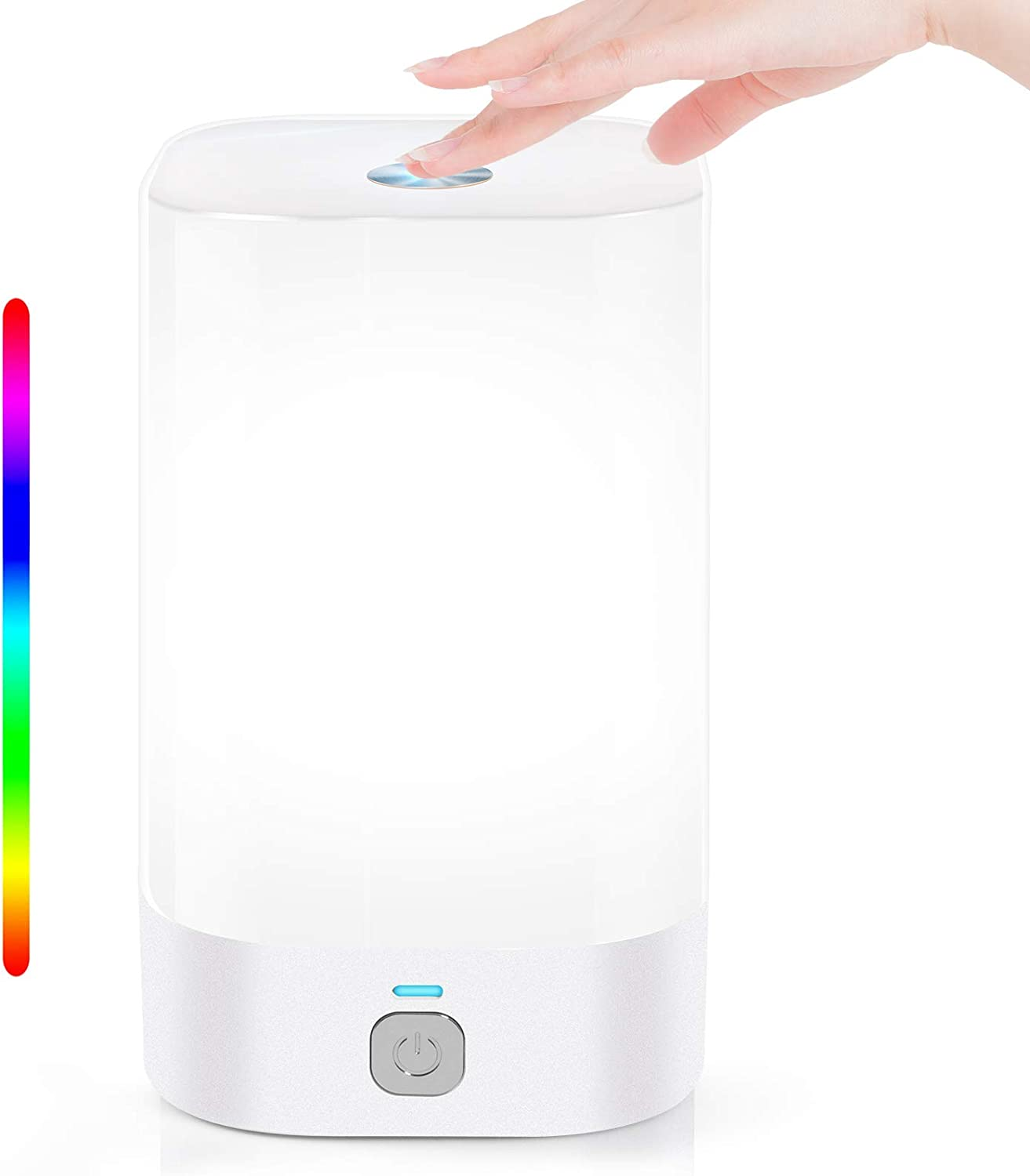 Smart Table Lamp, Cordless Rechargeable LED Bedside Touch Control Lamp with Color Changing RGB and Dimmable Warm White, Night Lights for Bedroom, Baby Kids Room, Living Room, Office, College Dorm