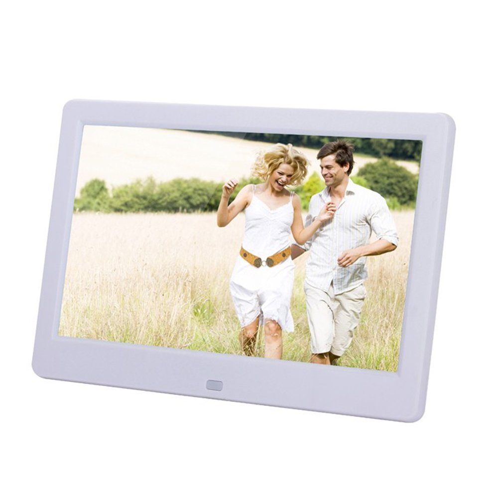 Minidiva 10.1 Inch TFT Digital Picture Frame 16:9 and HD Video Player (1024600) supports 32GB Memory Cards with Remote Control(White)