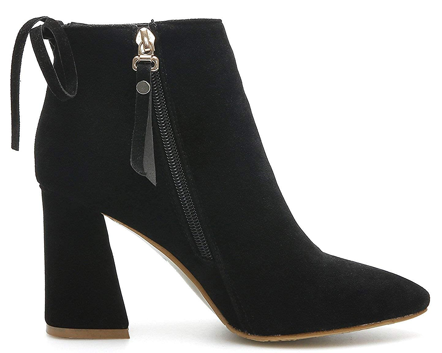 Unm Womens High Heel Short Boots with Zipper Elegant Chunky Dressy Pointed Toe Ankle Booties