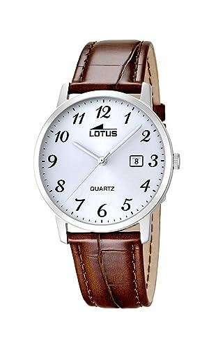Lotus 18239/2 - Reloj analógico para caballero con pantalla plateada y correa de piel marrón, mecanismo de cuarzo: Amazon.es: Relojes