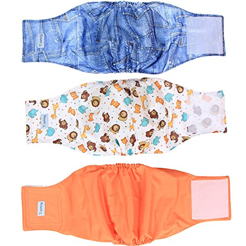 - Teamoy Reusable Wrap Diapers for Male Dogs, Washable Puppy Belly Band Pack of 3 (XXL, Orange+ Denim+ Fat Smile)