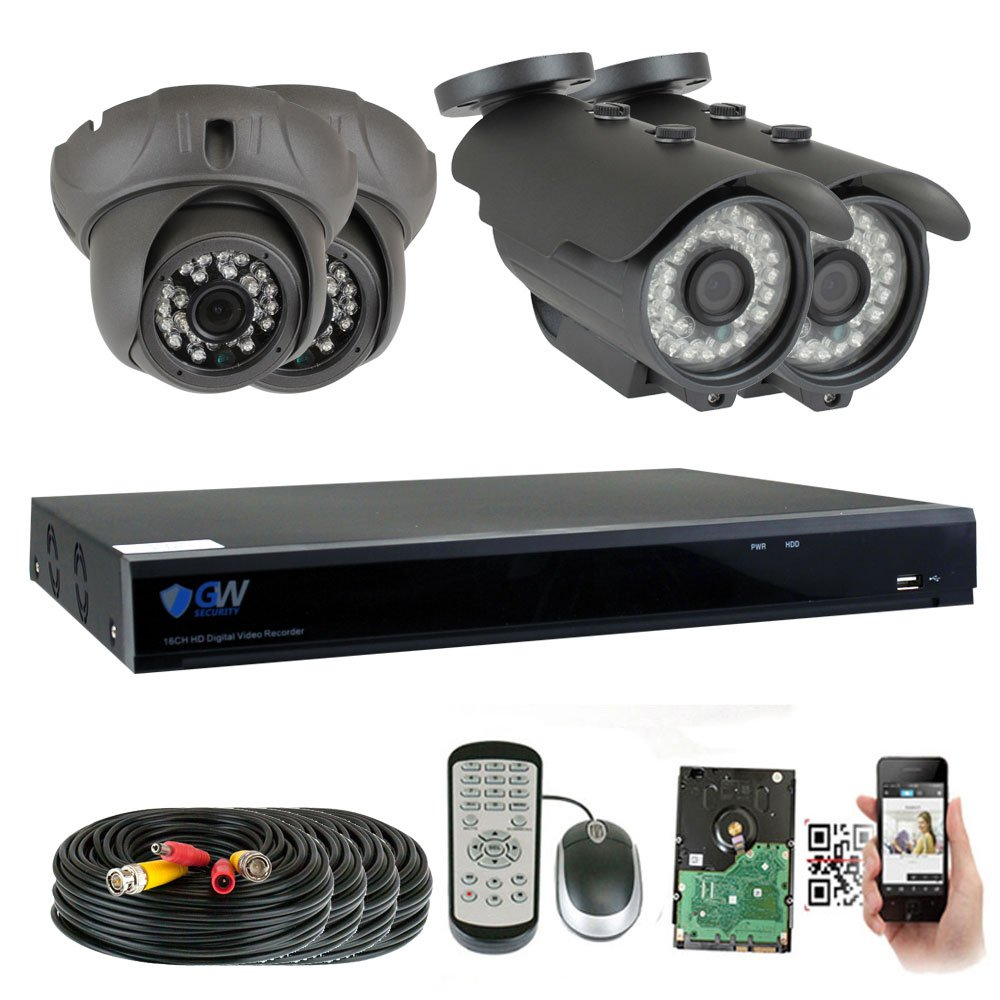 GW Security 8 Channel HD 2592TVL Outdoor Indoor CCTV Video System with 4 5MP 1920P Security Cameras with Pre-Installed 2TB HD, Motion Email Alert, Smartphone PC Easy Remote Access Black