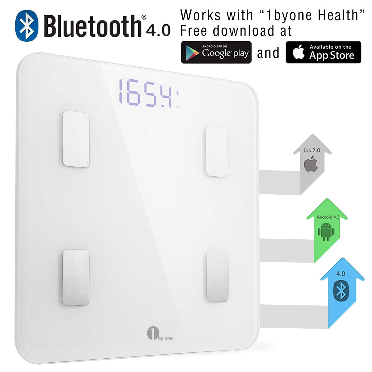 Amazon.com: 1 byone Bluetooth Smart Body Fat Scale con ...