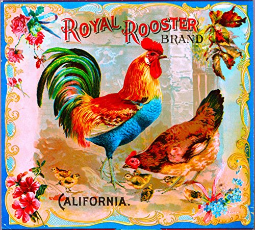 A SLICE IN TIME Riverside Royal Rooster Chicken Chickens Orange Citrus Fruit Crate Label Art Print