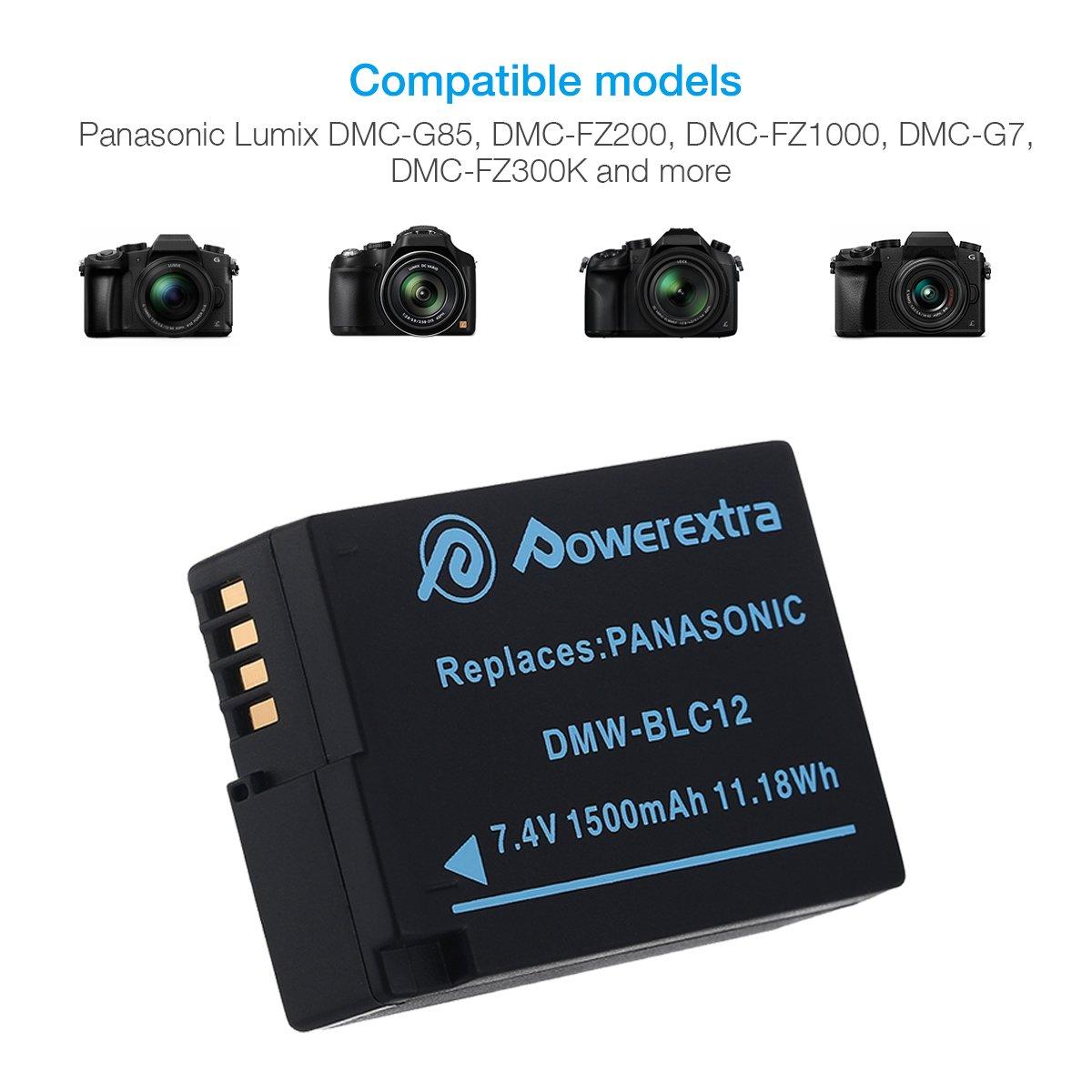 DMC-G5 DMC-GH2 Powerextra 2 Pack Replacement Panasonic DMW-BLC12 Battery and Smart Dual USB Charger with LCD Display for Panasonic Lumix DMC-FZ200 DMC-G6 DMC-FZ1000 DMC-G7 DMC-G85 DMC-GX8