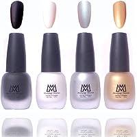 Makeup Mania Premium Nail Polish Velvet Matte Nail Paint Combo (Black, White, Silver, Golden, Pack of 4)