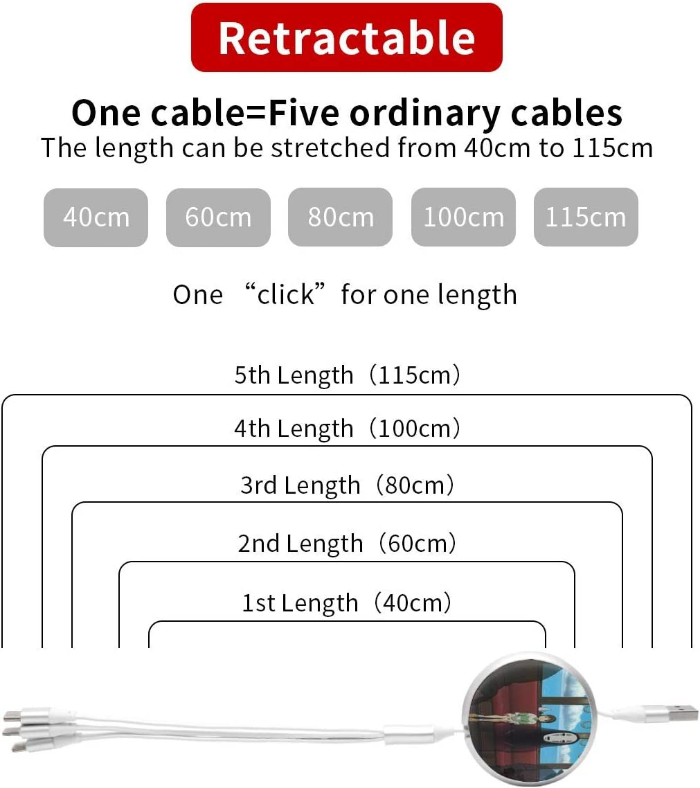 Spirited Away Round Three-in-One USB Data Cable Fast Multi Charging Cable for Phone,Android,Tpye-C Universal Interface Mobile Phones and Tablets