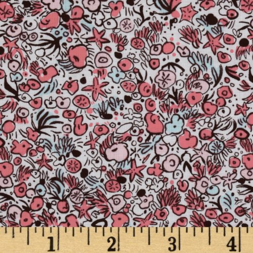 Michael Miller Out To Sea Sea Flowers Blossom Pink Fabric