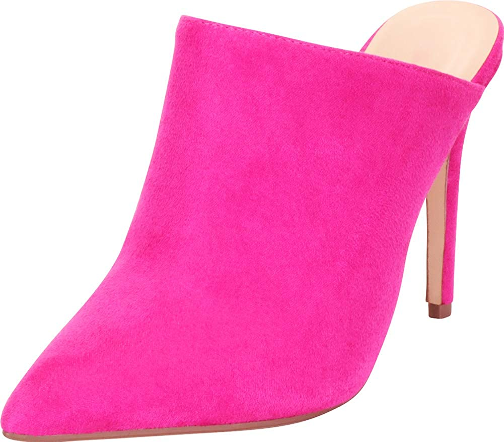 Hot Pink Imsu Cambridge Select Women's Pointed Toe Slip-On Stiletto High Heel Mule
