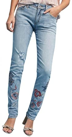 3ee26f152e81 Anthropologie Pilcro Mid-Rise Slim Boyfriend Jeans Embroidered $158 - NWT  (28)