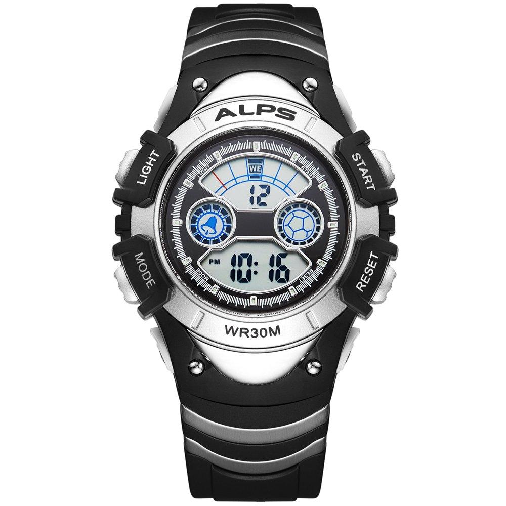 ALPS Kids Watch,Boys Girls,Outdoor,MultiFunction Digital LED Waterproof Sport Watch (Silver) by ALPS