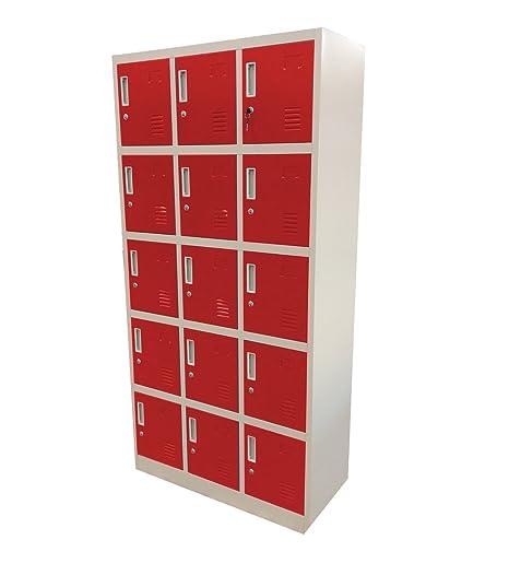 Fuerza Meister Compartimiento de acero armario 15 rojo ...