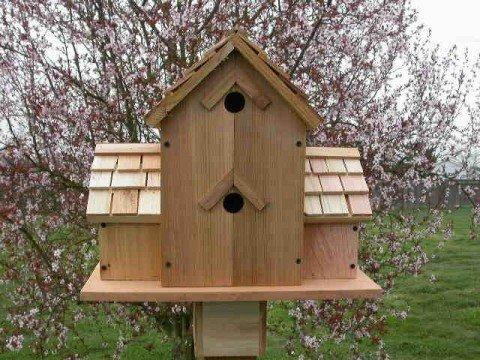 Shape Bird Birdhouse - Cedarnest Cedar Birdhouse with 6 Seperate Compartments