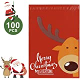 Metronic 100 10 x 13 Reindeer Designer Poly Mailer Envelopes Christmas Shipping Bags Xmas Gifts Boutique Custom Bags with Self Adhesive, Waterproof and Tear-proof Postal Printed Bags