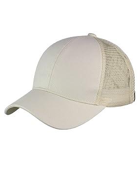 c3c0c453b41 C.C Ponycap Messy High Bun Ponytail Adjustable Mesh Trucker Baseball Cap Hat  (Beige)