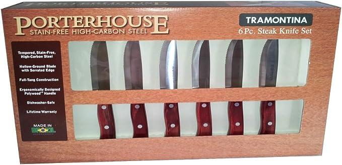 Tramontina 6 Piece Porterhouse Steak Knife Set Kitchen Dining Amazon Com