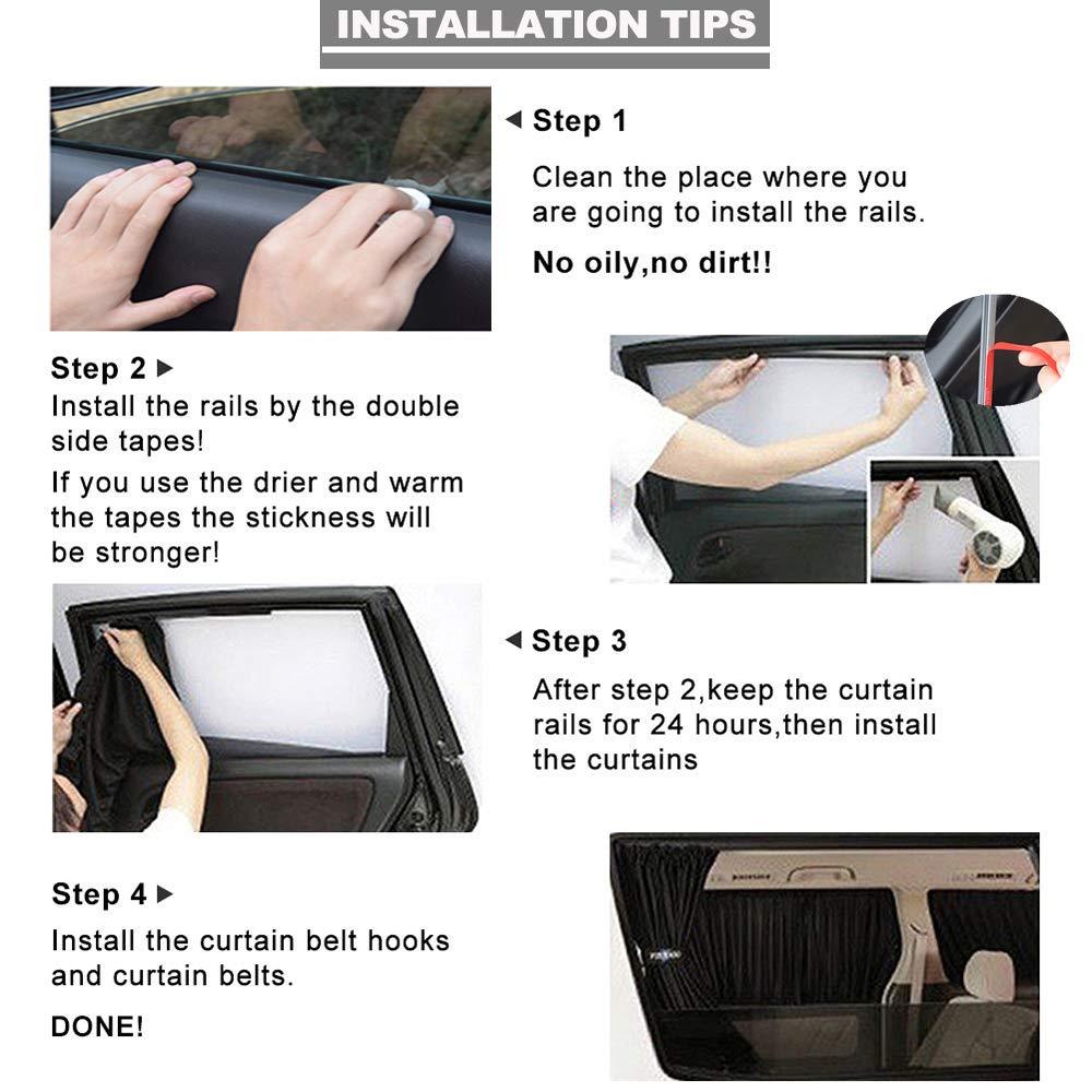 Car Interior Sun Shade Window Curtain Adjustable Auto Sunshade Drape Visor Valance Curtain Black, 50S Universal Car Curtains Fochutech Car Window Curtain
