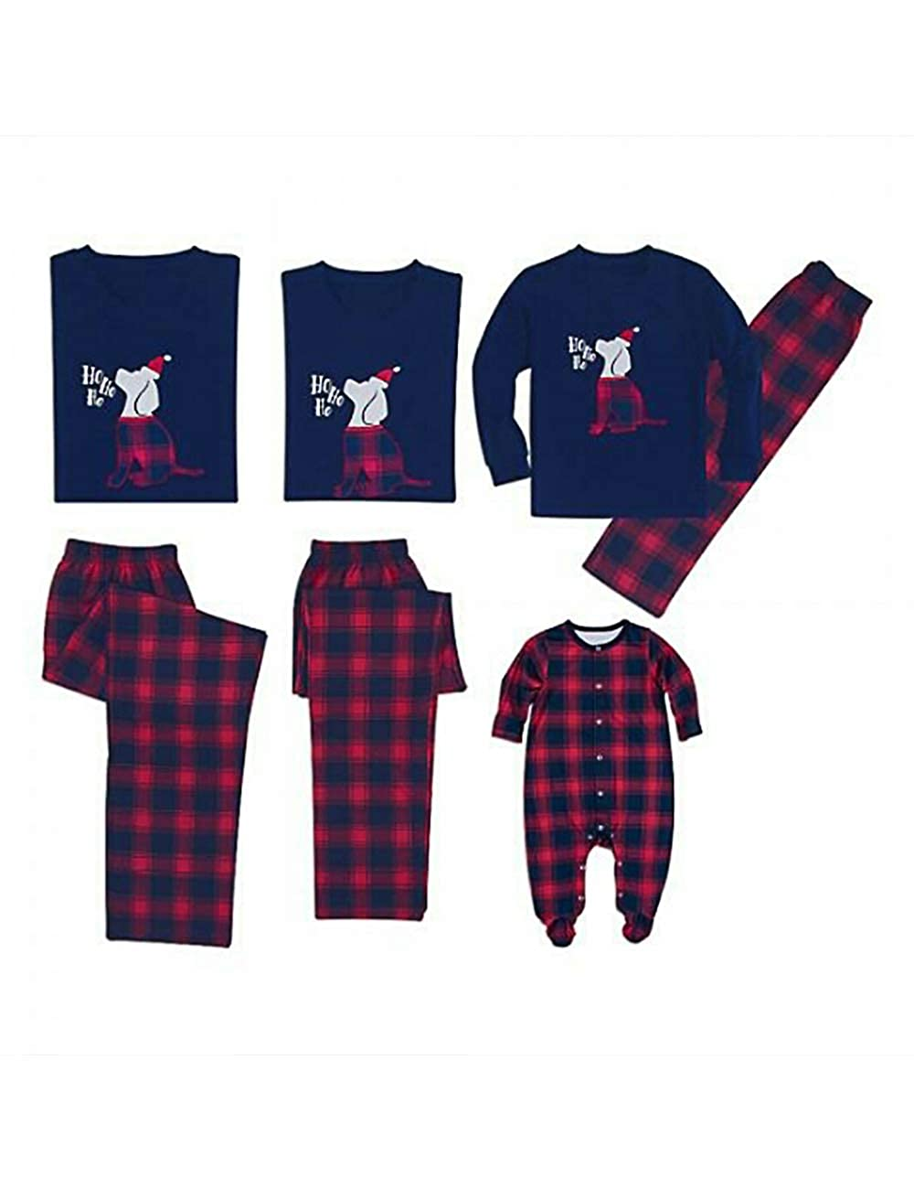BESBOMIG Funny Pet Pattern Christmas Pajamas Set Family Matching T-Shirt Personalised