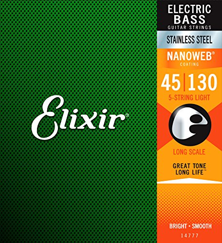 Elixir Strings Stainless Steel 5-String Bass Strings w NANOWEB Coating, Long Scale, Light (.045-.130)