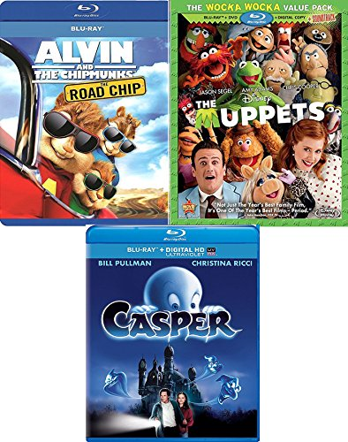 Kids Fun Time Movie Collection Blu Ray Alvin and the Chipmunks Road Chip + The Muppets Disney Movie & Casper the Friendly Ghost Family Movie Bundle