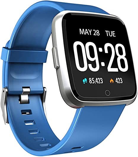 QTEC Reloj Inteligente Ip67 Impermeable Azul Fitness Tracker Monitor de Ritmo Cardíaco Presión Arterial Mujeres ...