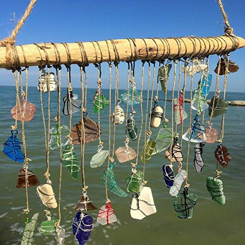 BohoBeach Glass Sun Catcher Eco Friendly Art Whimsical Driftwood Beach Wedding Swap Party Gift by Pier Beach Glass (Image #4)