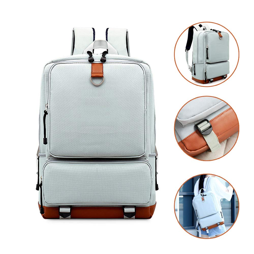 7b23b44ddc62 Light Weight Laptop Backpack for Women Men, Large Capacity Daypack for  College School Travel Fits 16 Inch Laptop & Notebook (White)