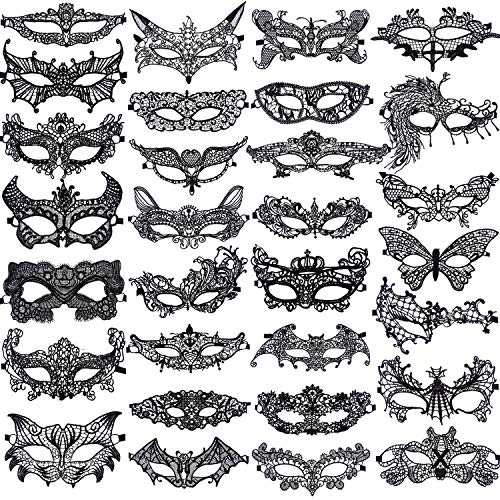 SIQUK 30 Pieces Black Lace Masquerade Masks