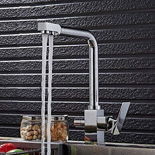 HXC-HXC 現代クロームホットとコールドキッチン食器洗い蛇口2関数リンク浄水器2ウォーターアウトレット回転可能なシンクの蛇口の耐久性 蛇口