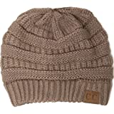 Winter White Ivory Thick Slouchy Knit Oversized Beanie Cap Hat,One Size,Taupe