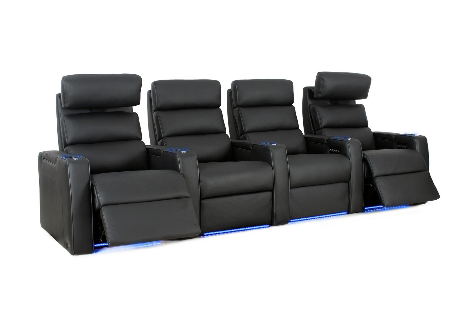 Dream HR - Octane Seating - Home Theater Seats - Black Top Grain Leather - Power Recline - Row of 4