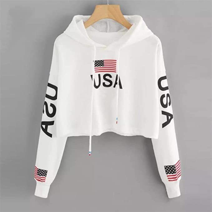 IUtan Women Funny CropDrop Shoulder American Flag Print Tops Hoodie Sweatshirt at Amazon Womens Clothing store: