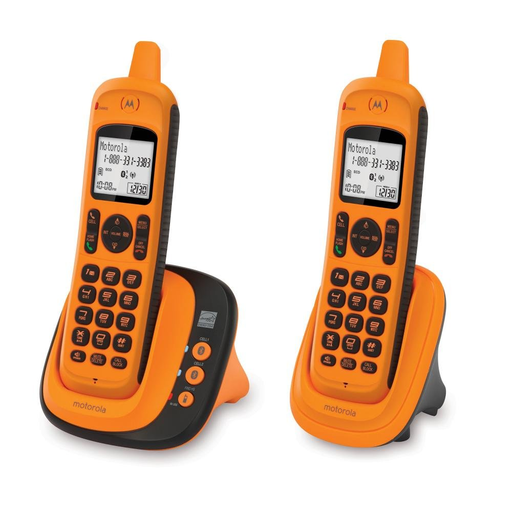 Motorola XT802 DECT 6.0 Rugged Waterproof Cordless Phone with Bluetooth Connect to Cell, Amber, 2 Handset