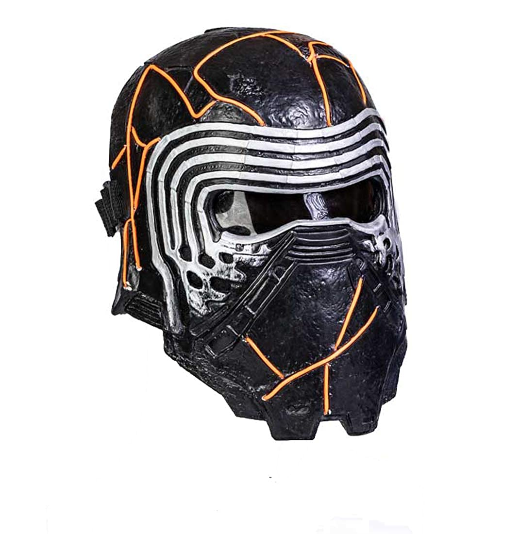 Kylo Maschera SW9 The Rise of Skywalker Cosplay in Resina Piena Testa LED Accessorio Costume 1:1 Replica Nero Halloween Carnevale pr Unisex Adulti Fans ( Resina con LED