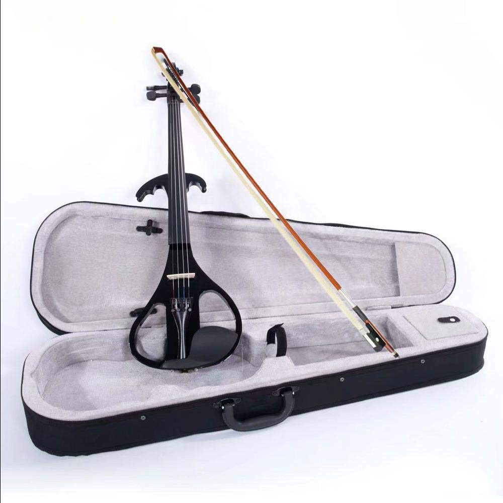 LJ1 4/4'' Basswood Electric Violin Case Rosin Head Set Bow Battery Connecting Line Black by Aromzen (Image #1)