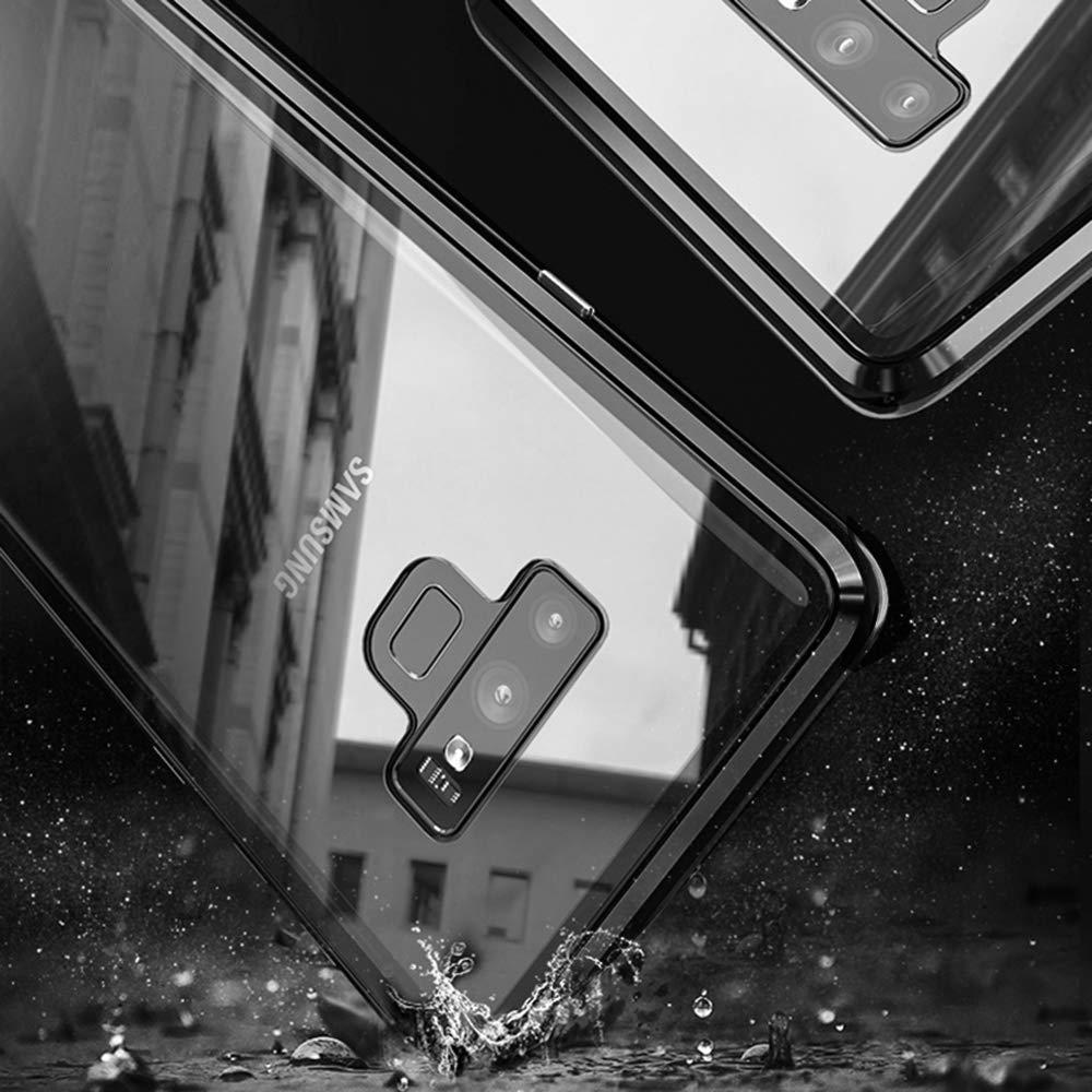 Marco de Metal Carcasa de Tel/éfono Parachoque Imanes Incorporados con Cubierta Dura de Trasera de Vidrio Templado Transparente Case Cover Adsorci/ón Magn/ética Funda Samsung Galaxy Note 9,