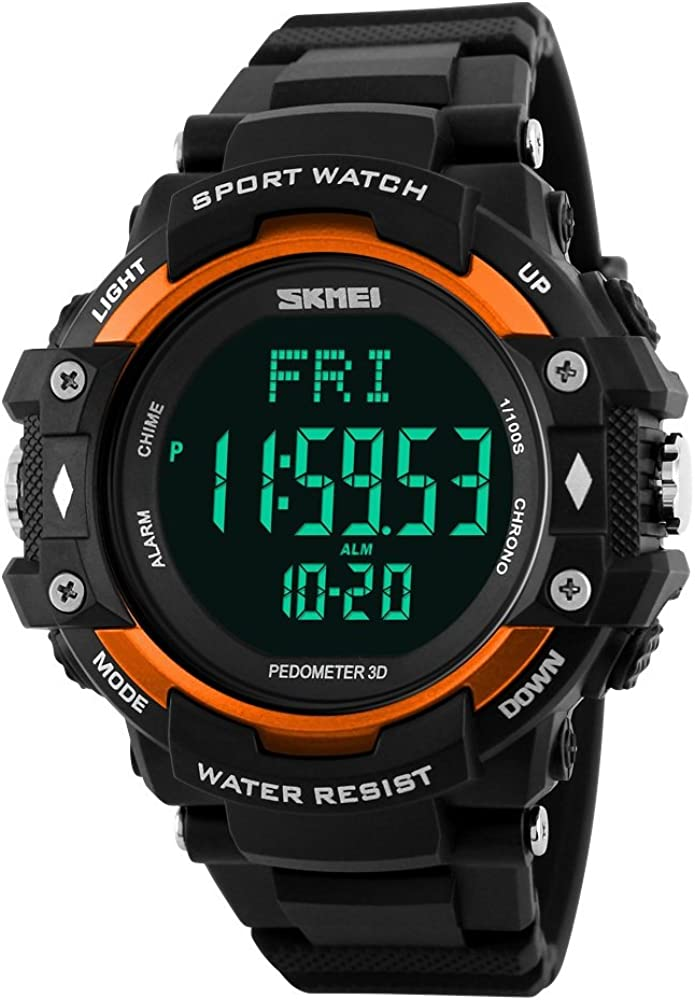 FeiWen Deportivo Fitness Digitale Relojes de Hombre 50M Impermeable Outdoor Multifuncional LED Electrónica Pulsómetro Podómetro Calorías Plástico Alarma Reloj de Pulsera