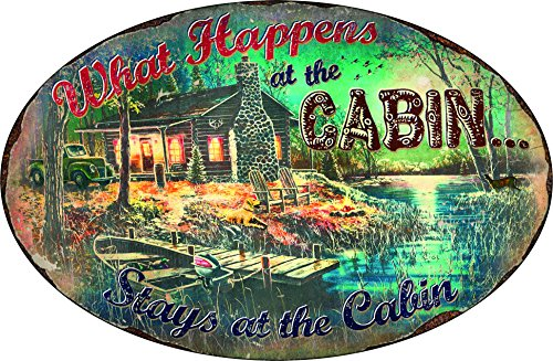 River's Edge What Happens at the Cabin, Stays at the Cabin Embossed Tin Sign, - Of Lake Ozarks The Shopping
