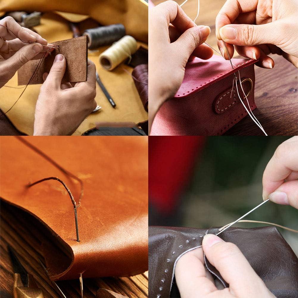 7 St/ücke Leder N/ähnadeln Fingerhut und Fingersitze zum Leder Reperatur Buchbinden Hand N/ähen Set mit 2 Farben Wachsfaden Ekalee Leder N/ähen Werkzeuge Set Ahle Hand N/ähen