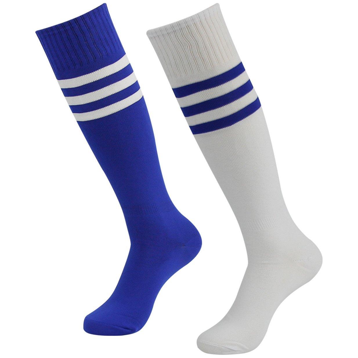 3street ユニセックス ニーハイ トリプルストライプ アスレチック サッカー チューブ ソックス 2 / 6 / 10組 B07CNFV7Y7 08#2-Pair White Blue with Stripe 08#2-Pair White Blue with Stripe