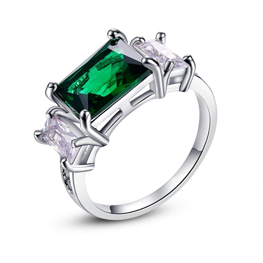 LeoBon Jewelry Engagement Ring for Women Cocktail Party Rings Green Emerlad White CZ Diamond 18K White Gold Plated Ring