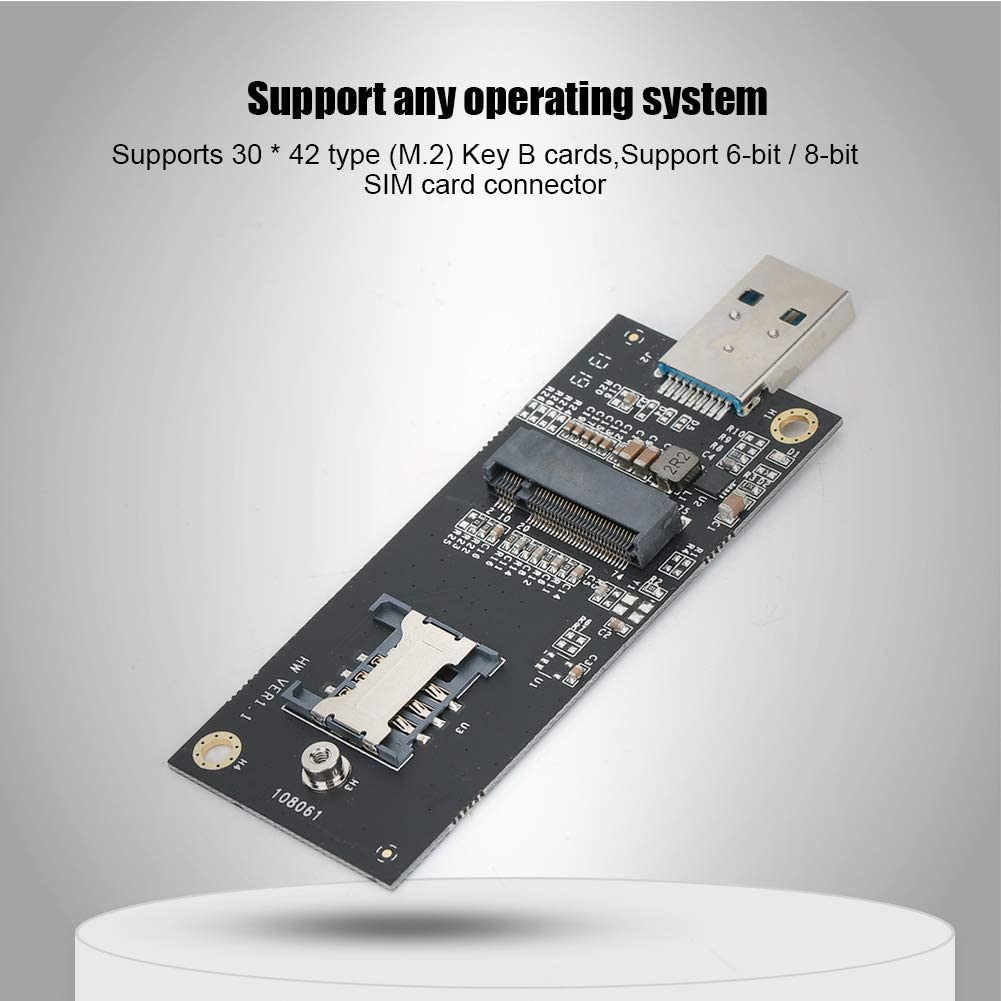 ASHATA M.2 to USB Adapter M.2 PCIe Based M Key Hard Drive Key B to USB3.0 Adapter Card M.2 Card Module Board with SIM Card Slot M.2 SSD to USB 3.1 Type A Card