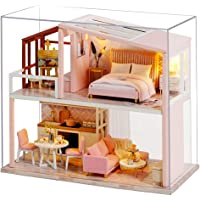CUTEBEE Dollhouse Miniature with Furniture, DIY Wooden Dollhouse Kit Plus Dust Proof , 1:24 Scale Creative Room Idea